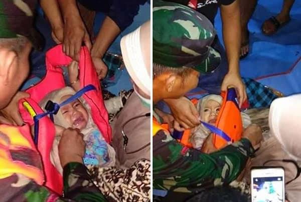 Foto ini adalah bayi yang selamat dari tenggelamnya KM Lestari Maju di perairan Sulawesi Selatan pada bulan Juli 2018 lalu.