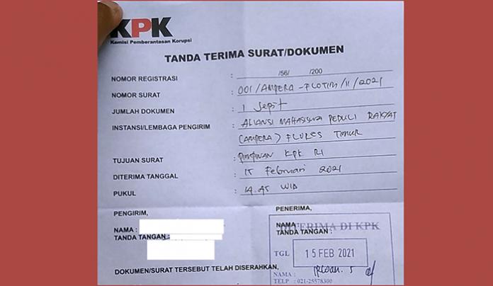 Tanda Terima dari KPK atas permintaan supervisi terhadap Kejari Larantuka.