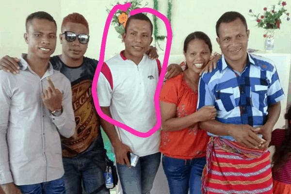 DK (dalam lingkaran), pelaku pembunuhan terhadap RTS di Desa Maktihan, Kecamatan Malaka Barat, Kabupaten Malaka, Sabtu (20/3/21).