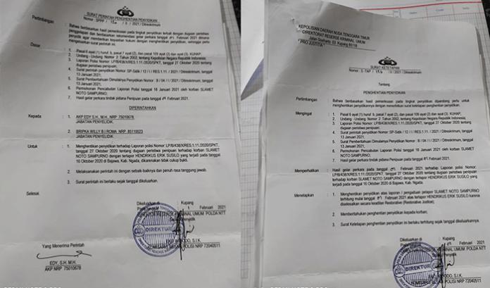 SP3 Kasus Yang Dilaporkan Yoga di Polda NTT