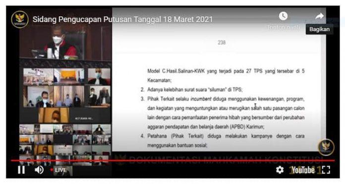 Sidang 10 perkara sengketa Pilkada 2020 secara daring pada Kamis, 18 Maret 2021.