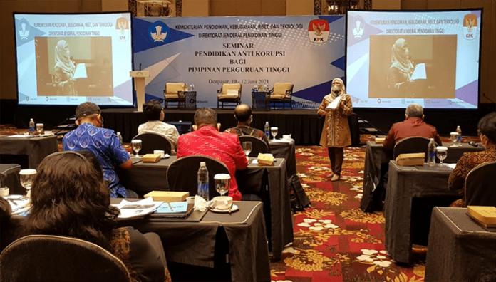 Seminar Antikorupsi untuk pimpinan Perguruan Tinggi di Hotel Trans Resort Bali, Jumat, 11 Juni 2021.