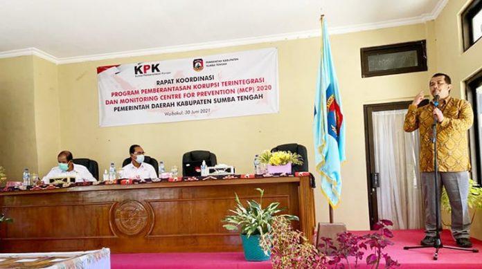 KPK rapat dengan jajaran Pemerintah Kabupaten Sumba Tengah, Rabu, 30 Juni 2021.
